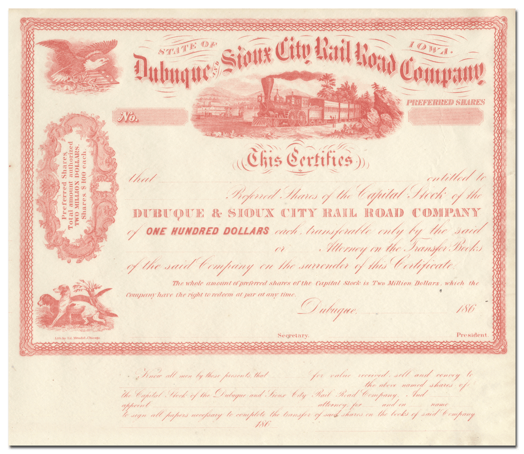 Dubuque and Sioux City Rail Road Company Stock Certificate