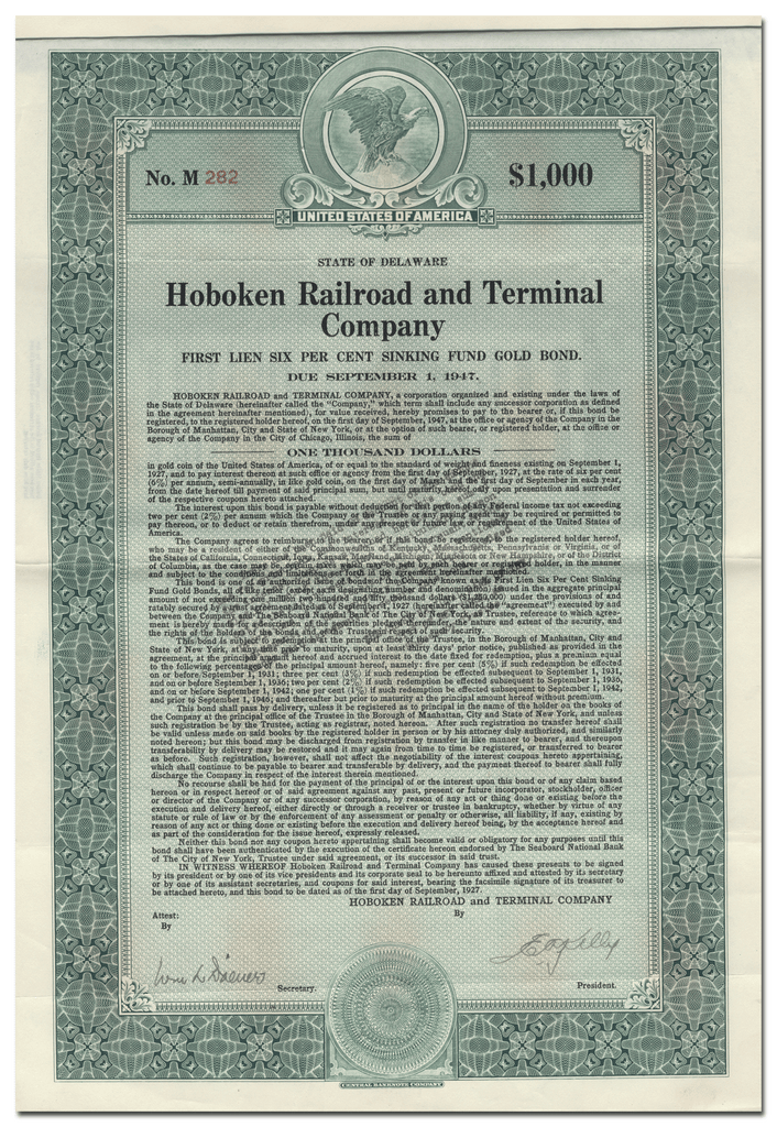 Hoboken Railroad and Terminal Company Bond Certificate