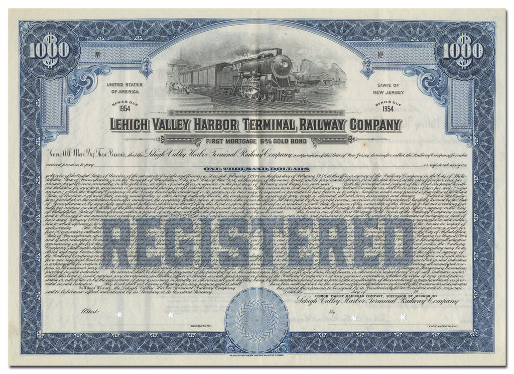 Lehigh Valley Harbor Terminal Railway Company Bond Certificate
