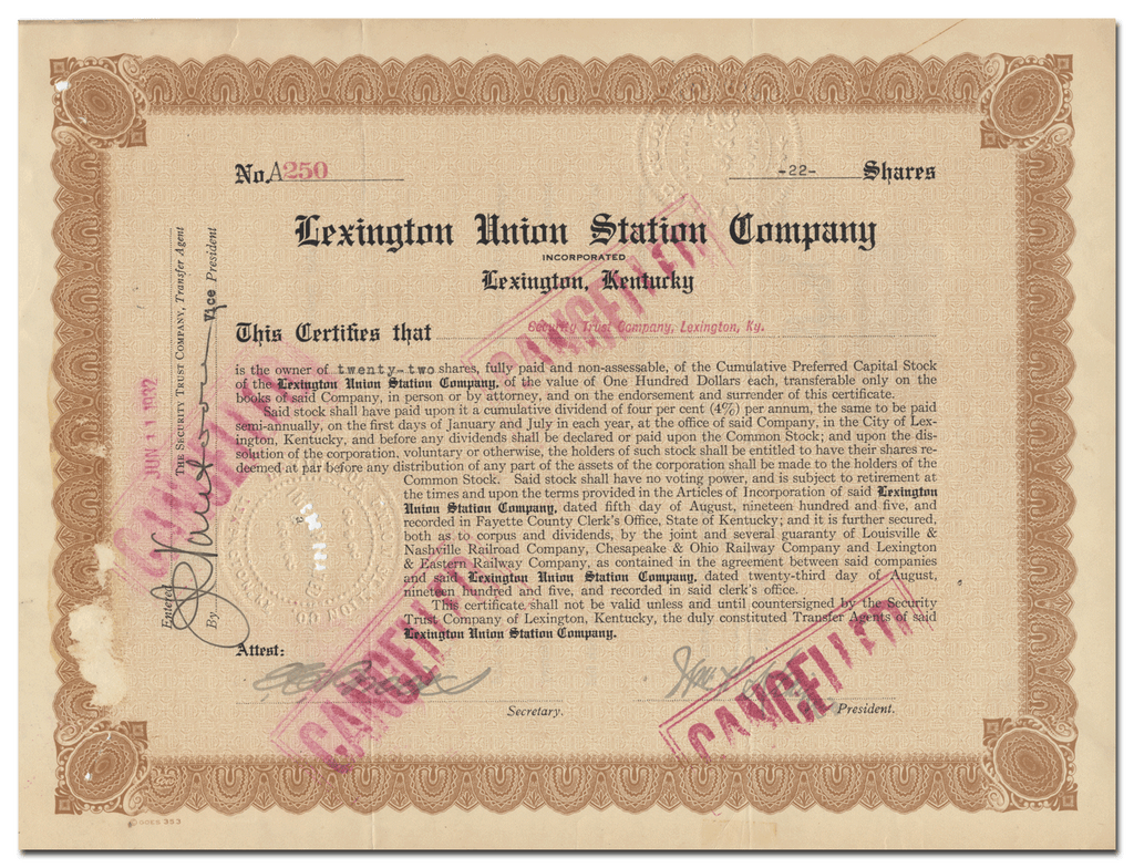 Lexington Union Station Company Stock Certificate