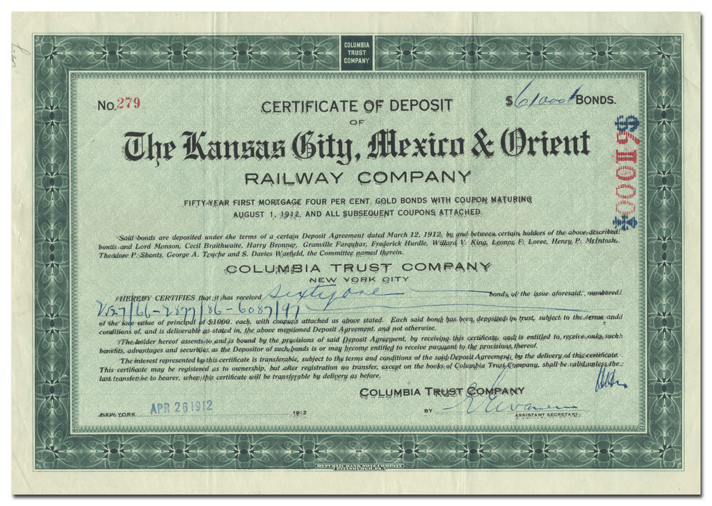 Kansas City, Mexico & Orient Railway Company Certificate of Deposit
