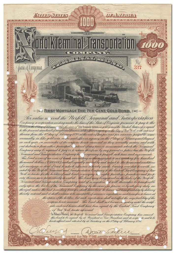 Norfolk Terminal and Transportation Company Bond Certificate