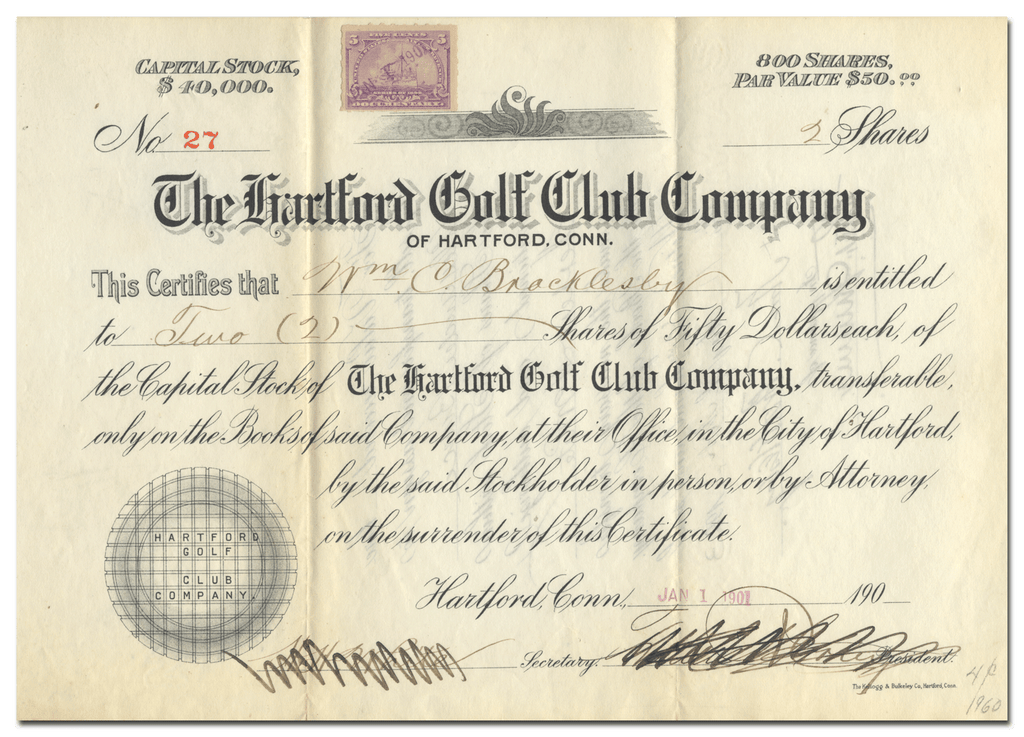 Hartford Golf Club Company Stock Certificate