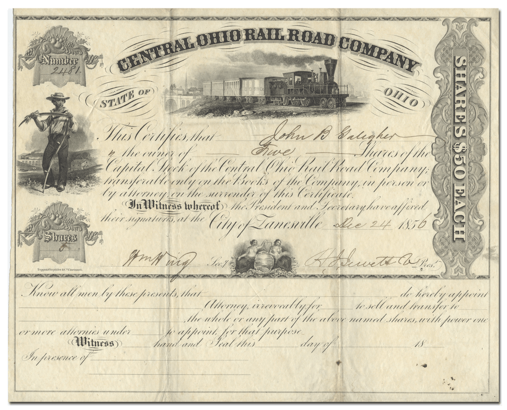 Central Ohio Rail Road Company Stock Certificate