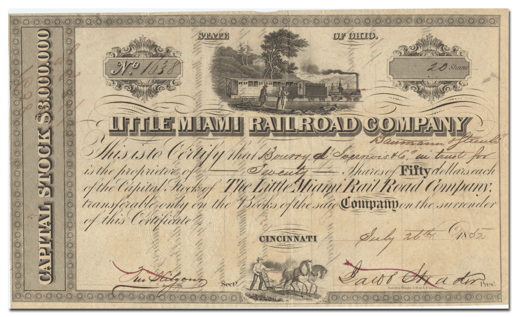 Little Miami Rail Road Company Stock Certificate