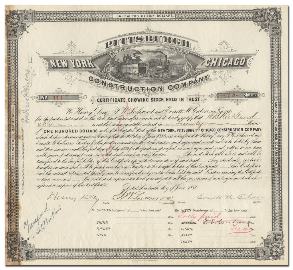New York, Pittsburgh and Chicago Construction Company Stock Certificate