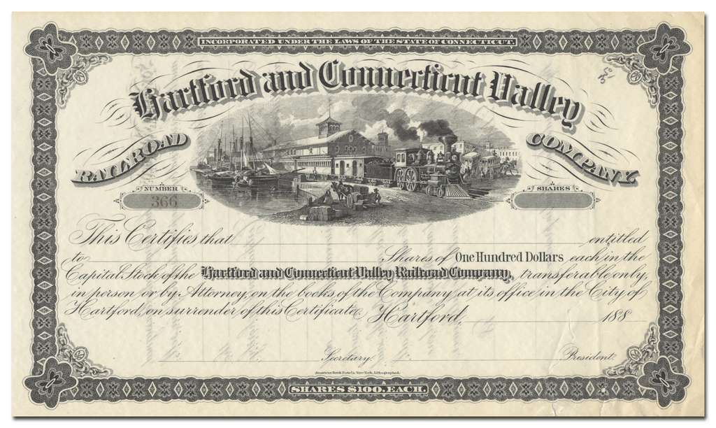 Hartford and Connecticut Valley Railroad Company Stock Certificate