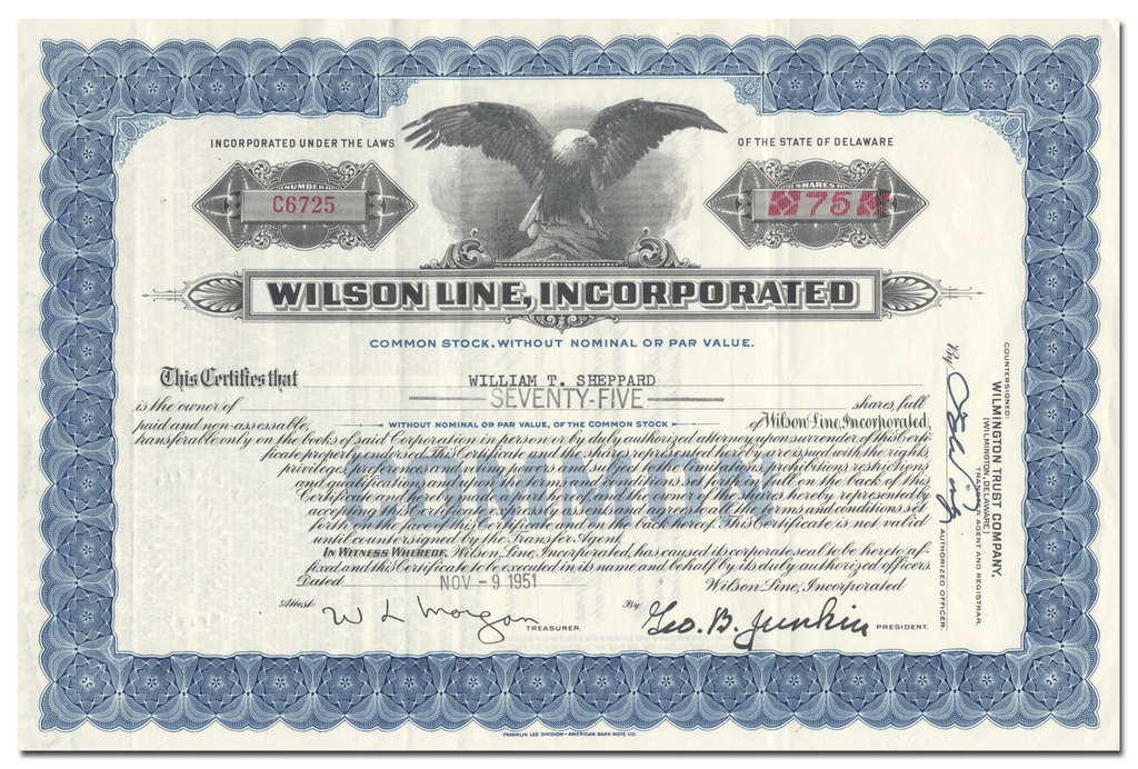 Wilson Line, Incorporated Stock Certificate