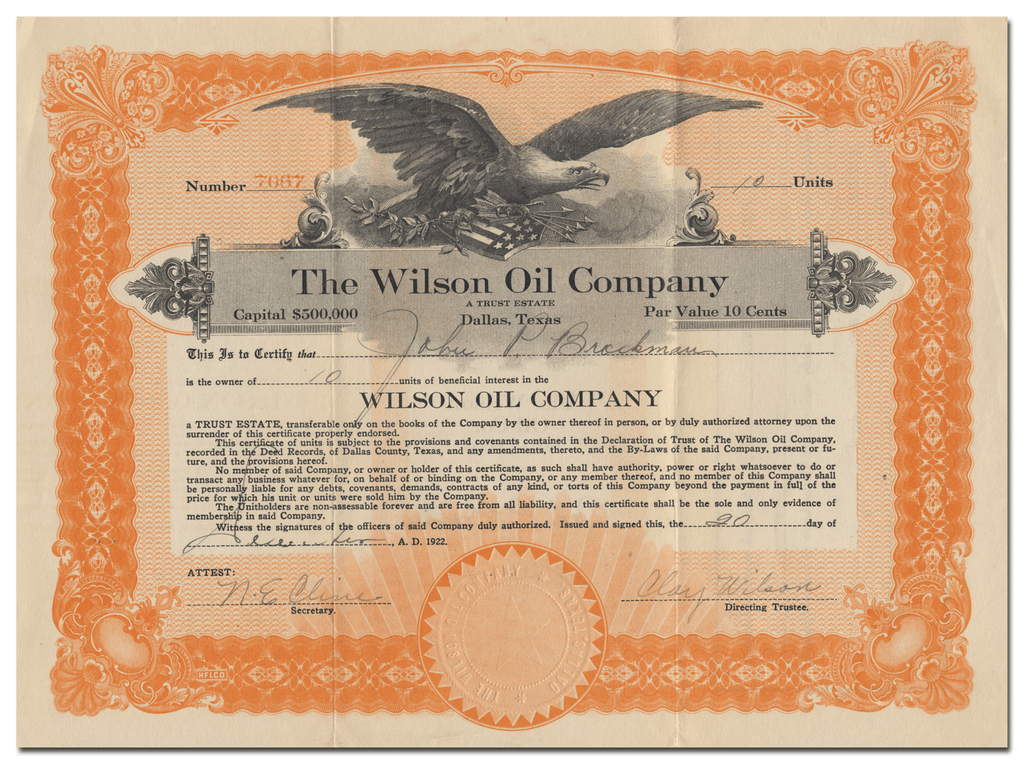 Wilson Oil Company Stock Certificate