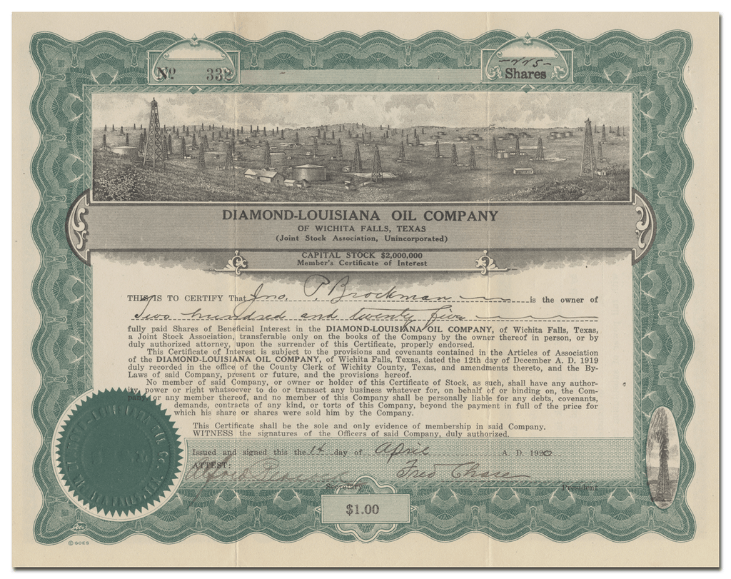 Diamond-Louisiana Oil Company Stock Certificate