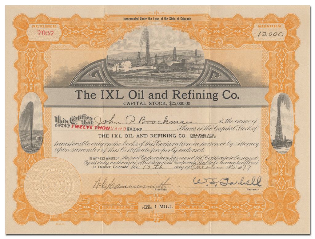 IXL Oil and Refining Co. Stock Certificate