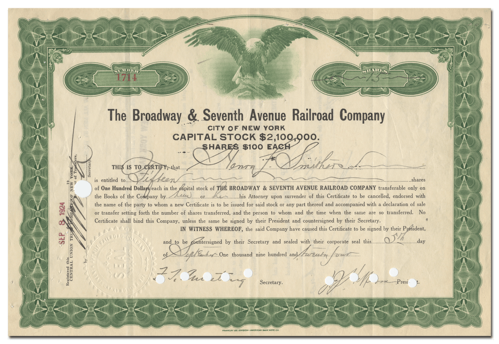Broadway and Seventh Avenue Railroad Company Stock Certificate