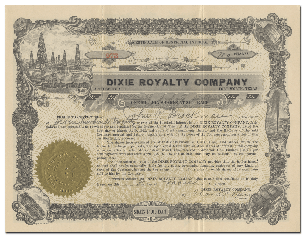 Dixie Royalty Company Stock Certificate