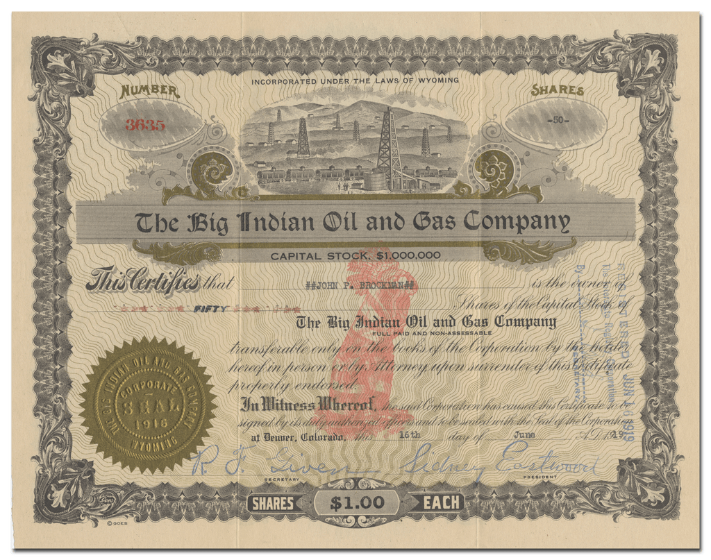 Big Indian Oil and Gas Company Stock Certificate