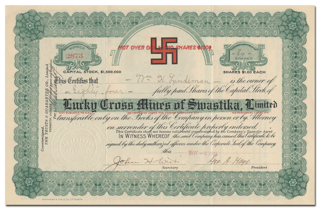 Lucky Cross Mines of Swastika, Limited Stock Certificate