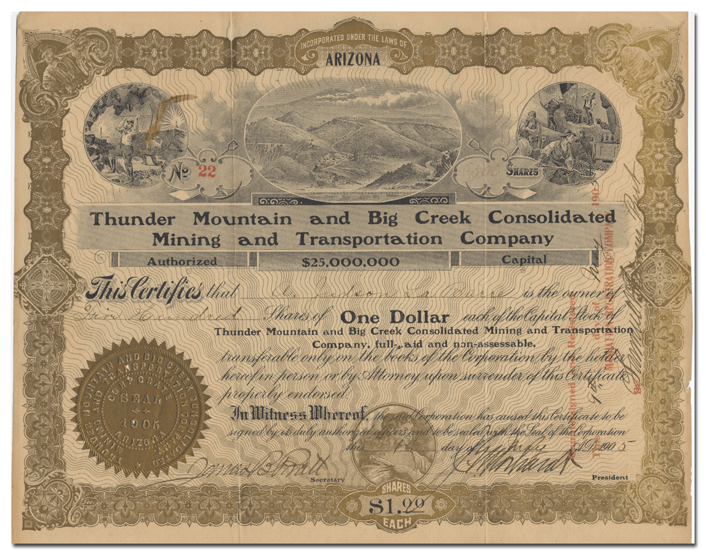 Thunder Mountain and Big Creek Consolidated Mining and Transportation Company Stock Certificate