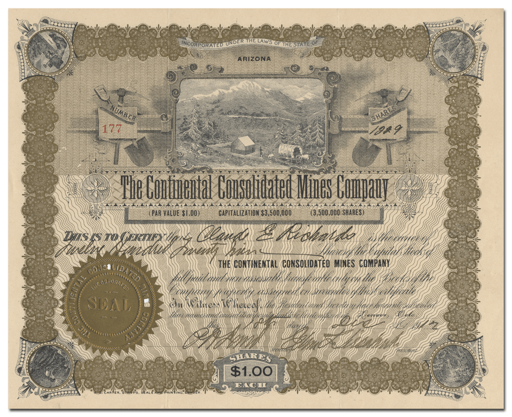 Continental Consolidated Mines Company Stock Certificate
