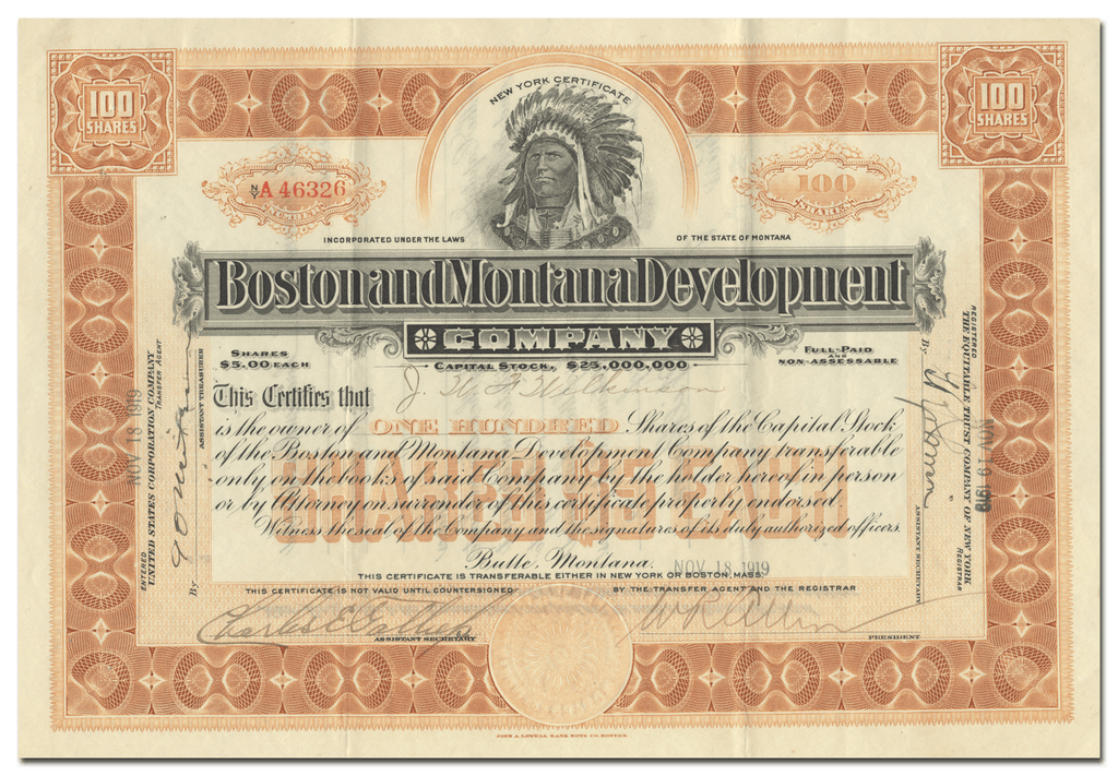 Boston and Montana Development Company Stock Certificate Signed by William R. Allen