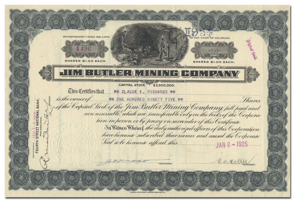 Jim Butler Mining Company Stock Certificate