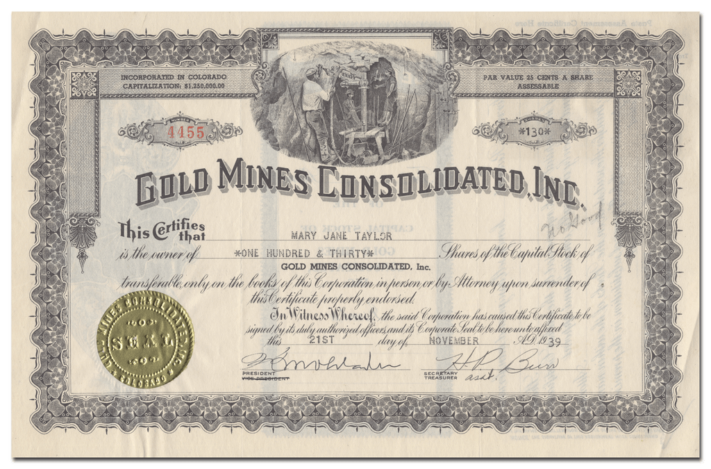 Gold Mines Consolidated, Inc. Stock Certificate