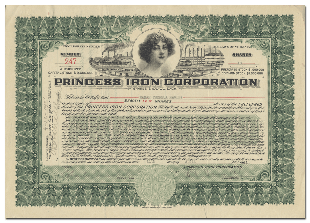 Princess Iron Corporation Stock Certificate