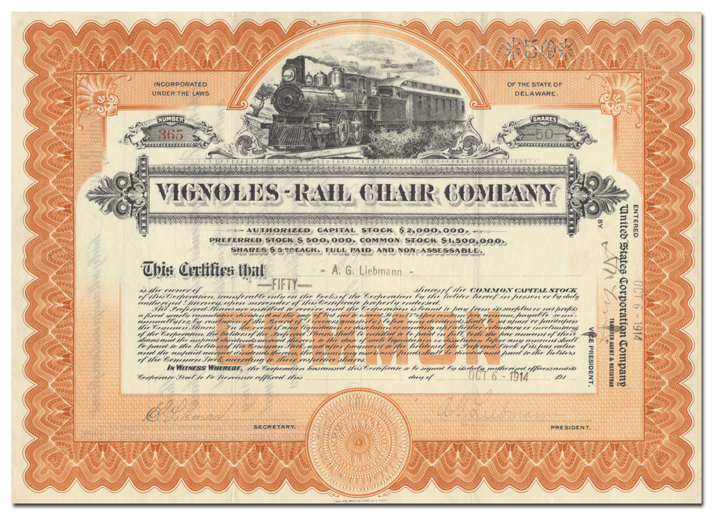 Vignoles-Rail Chair Company Stock Certificate