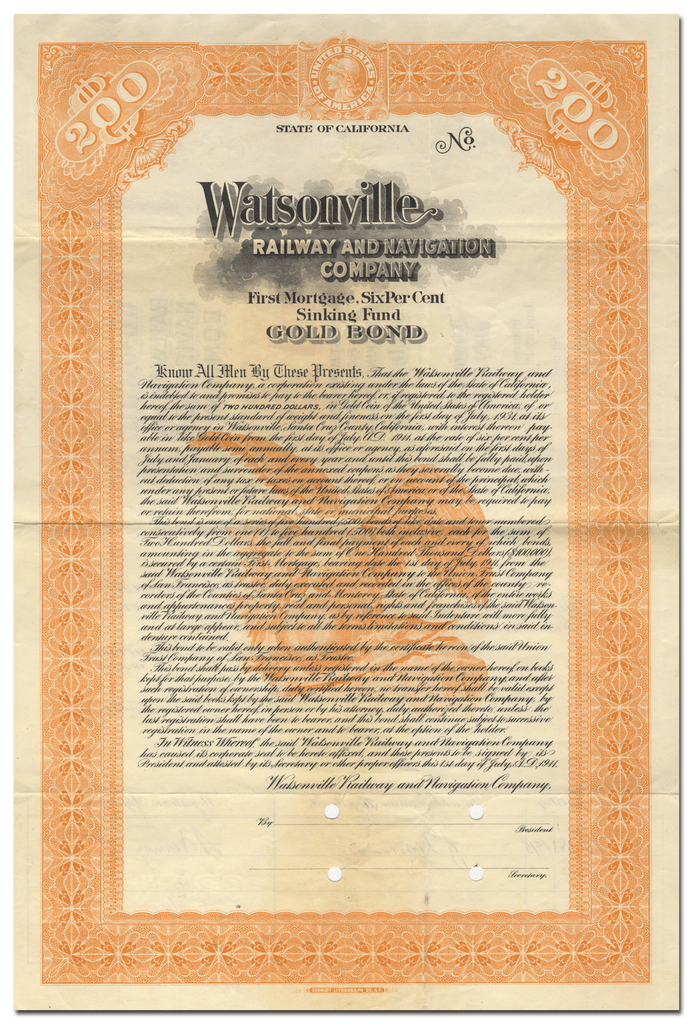 Watsonville Railway and Navigation Company Bond Certificate