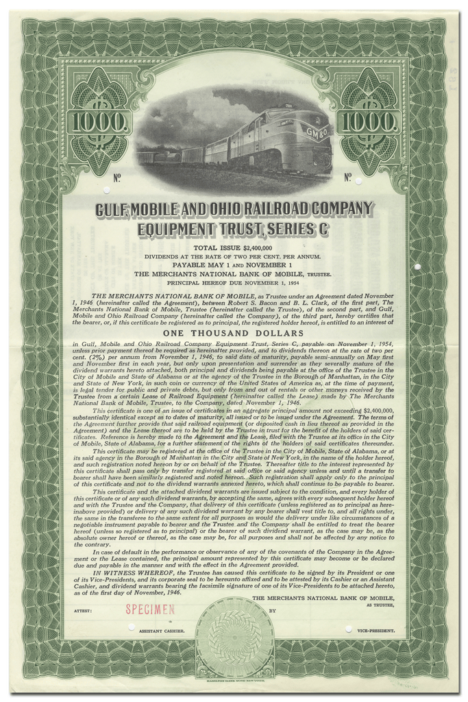 Gulf, Mobile and Ohio Railroad Company Equipment Trust Certificate