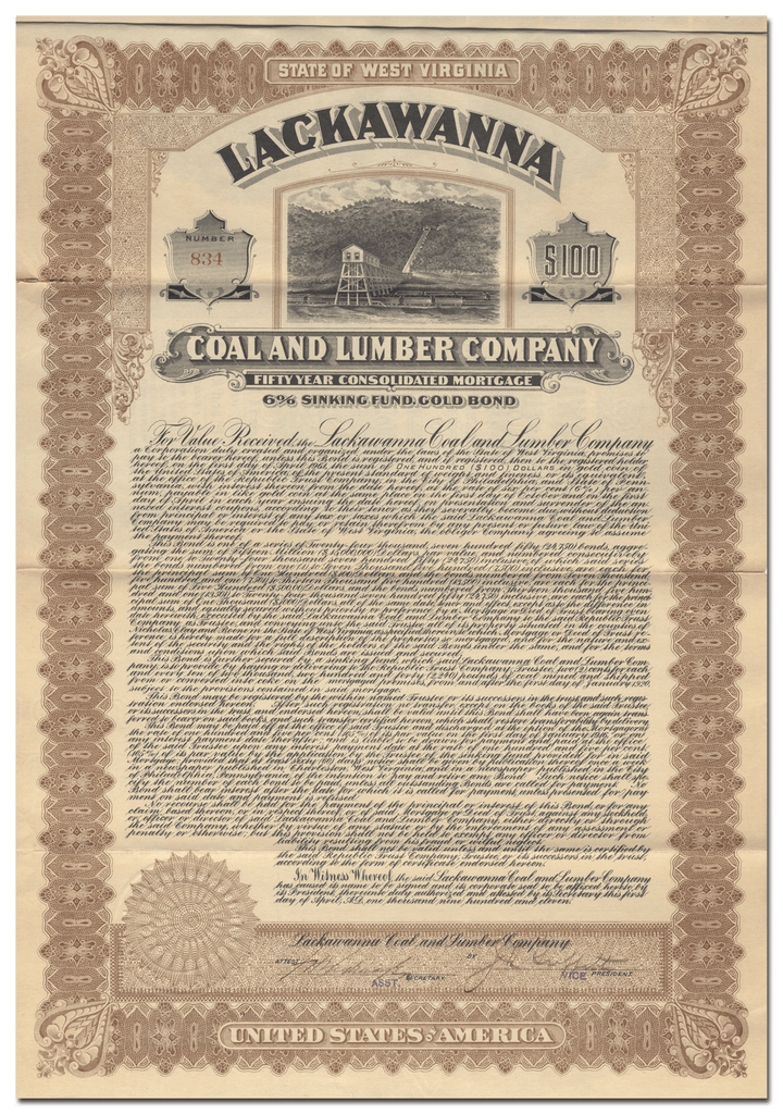 Lackawanna Coal and Lumber Company Bond Certificate