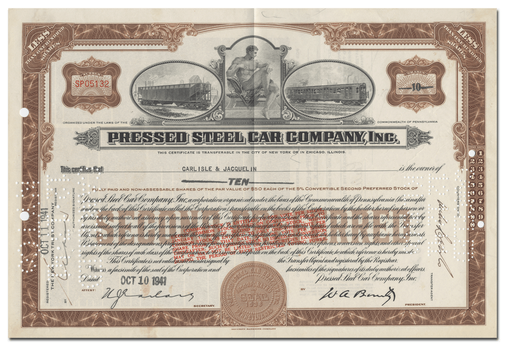 Pressed Steel Car Company, Inc. Stock Certificate