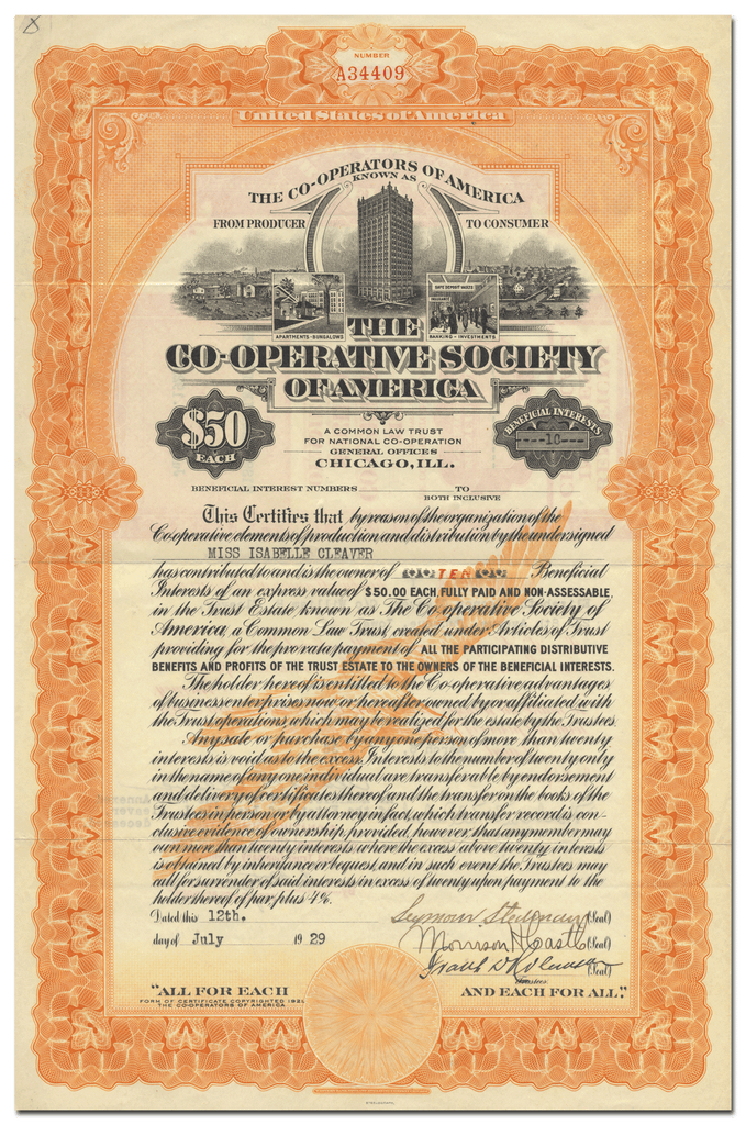 Co-Operative Society of America Certificate of Beneficial Interest