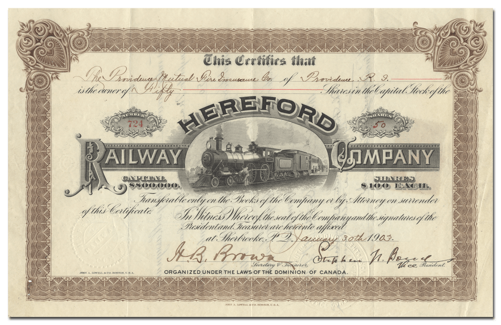 Hereford Railway Company Stock Certificate