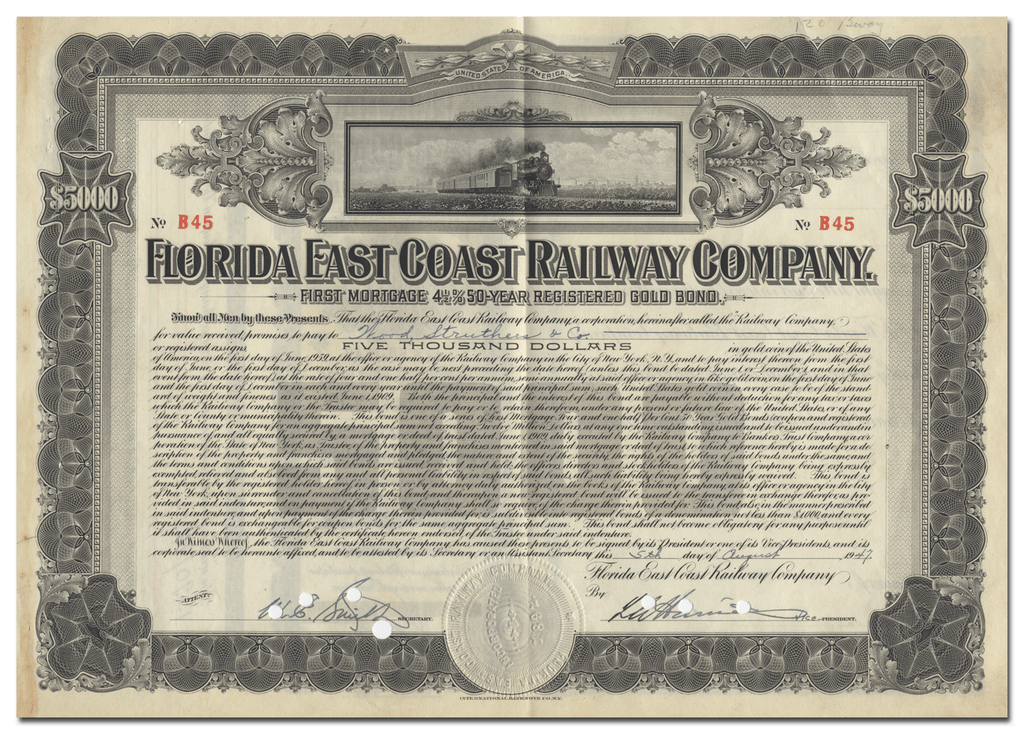 Florida East Coast Railway Company Bond Certificate