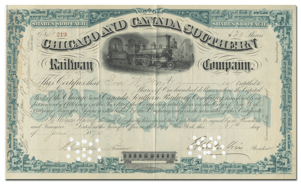Chicago and Canada Southern Railway Company Stock Certificate