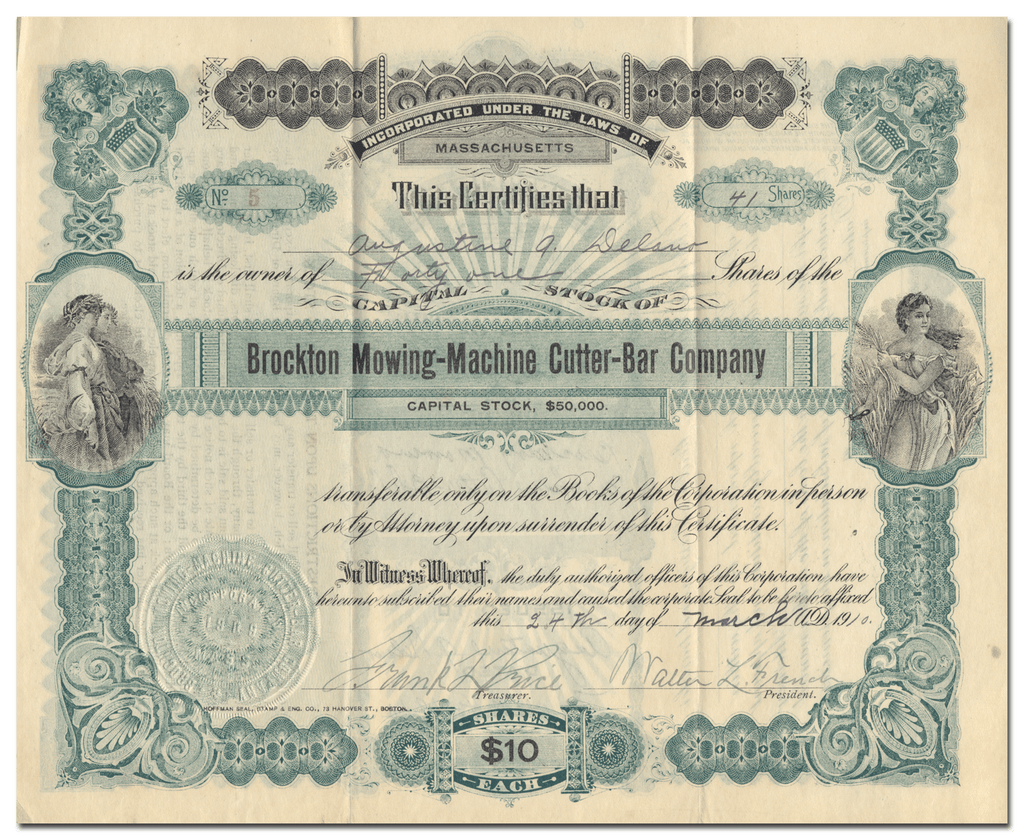 Brockton Mowing-Machine Cutter-Bar Company Stock Certificate