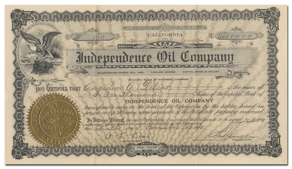 Independence Oil Company Stock Certificate