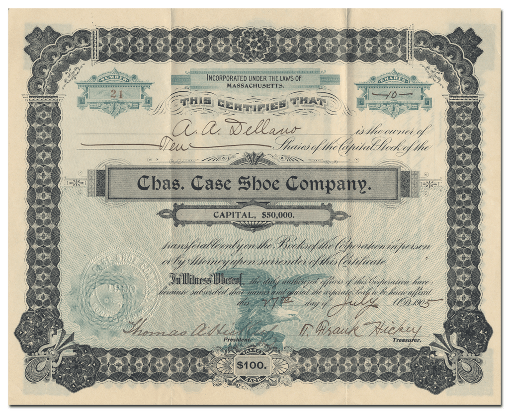 Chas. Case Shoe Company Stock Certificate