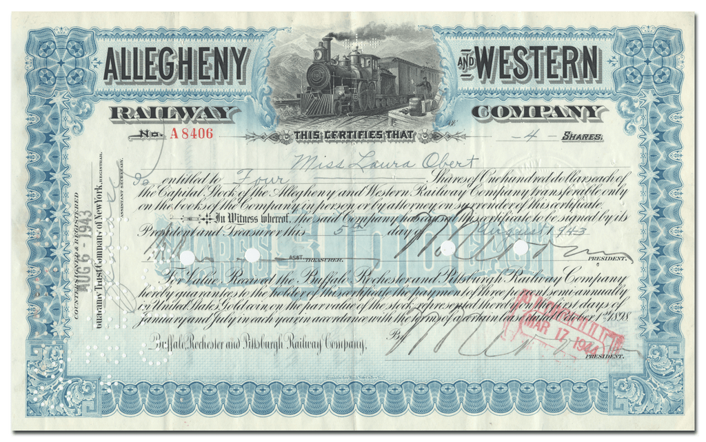 Allegheny and Western Railway Company Stock Certificate