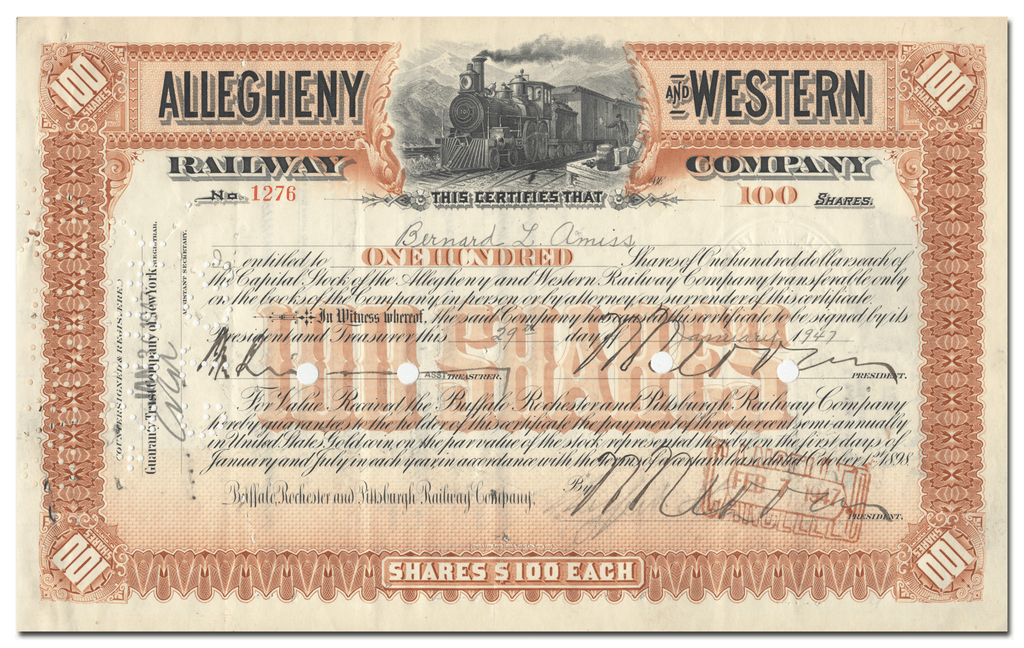 ALLEGHENY AND WESTERN RAILWAY COMPANY..1941 STOCK
