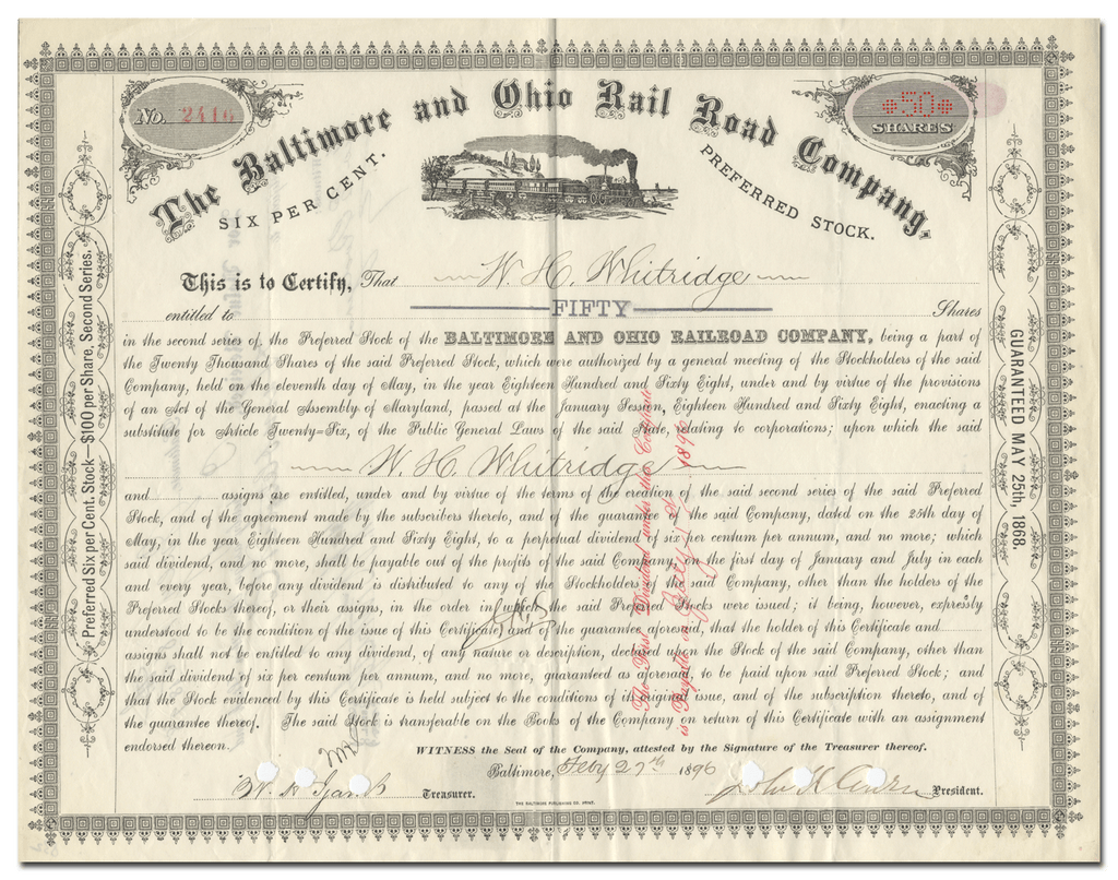 Baltimore and Ohio Rail Road Company Stock Certificate