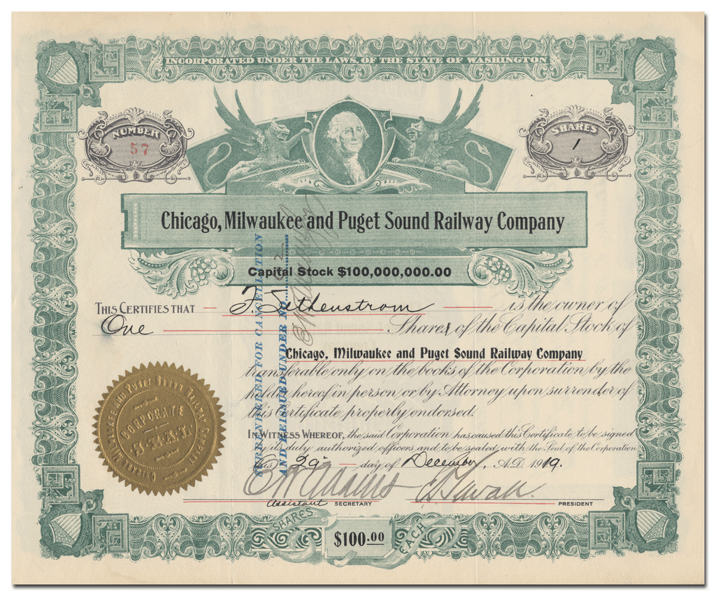 Chicago, Milwaukee & Puget Sound Railway Company Stock Certificate