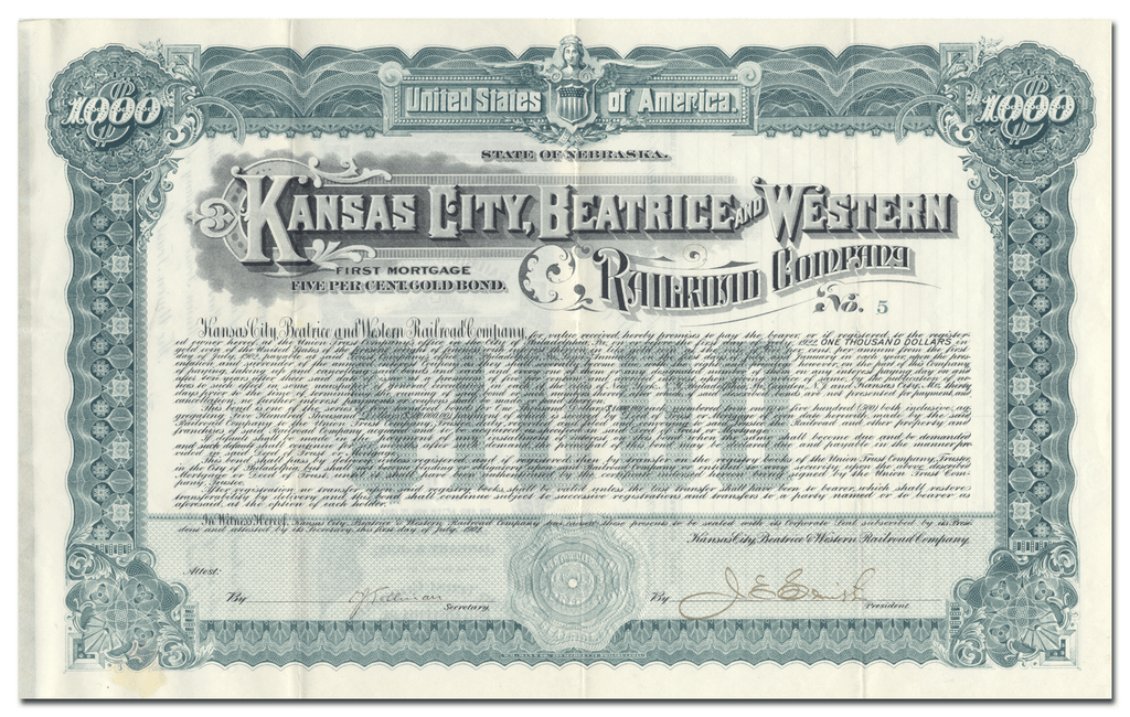 Kansas City, Beatrice and Western Railroad Company Bond Certificate
