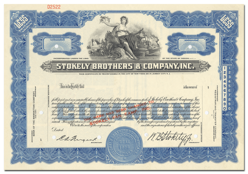 Stokely Brothers & Company, Inc. Stock Certificate