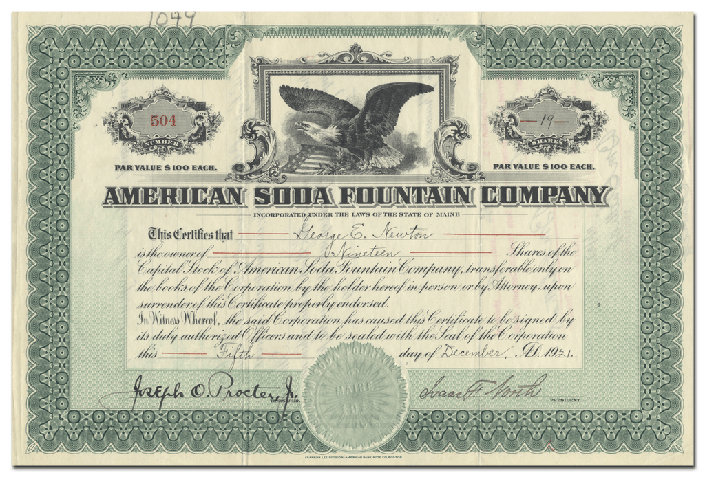 American Soda Fountain Company Stock Certificate