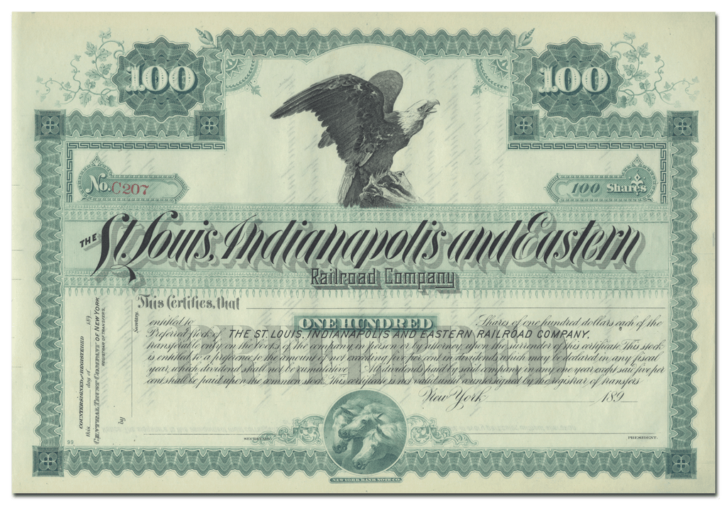 St. Louis, Indianapolis and Eastern Railroad Company Stock Certificate