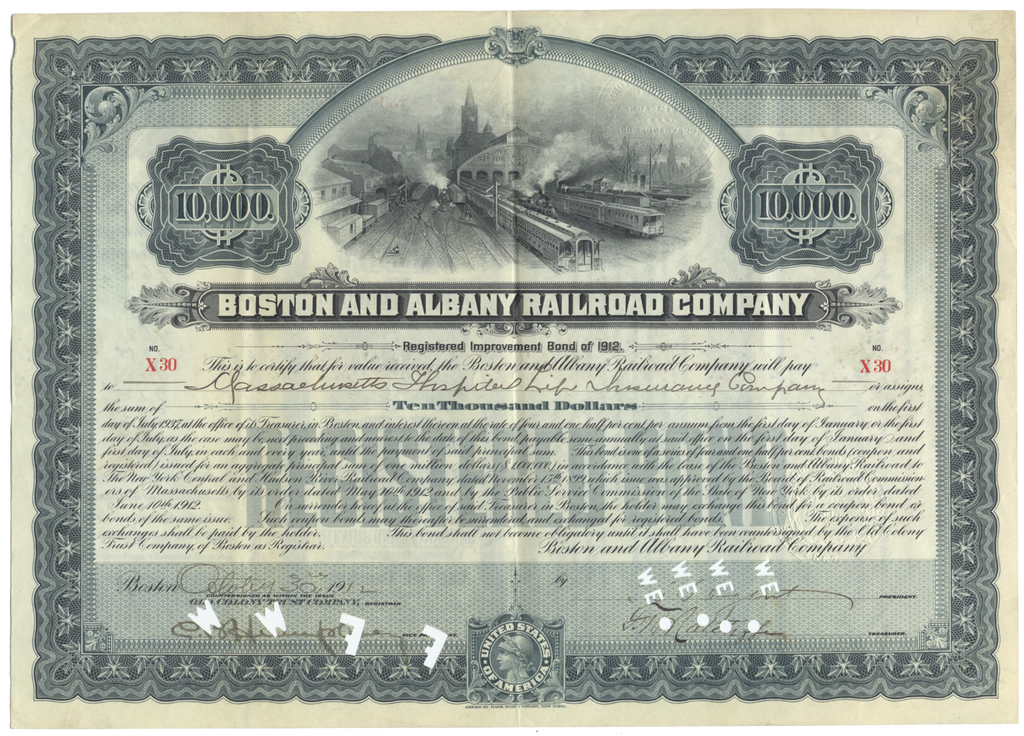 Boston and Albany Railroad Company Bond Certificate