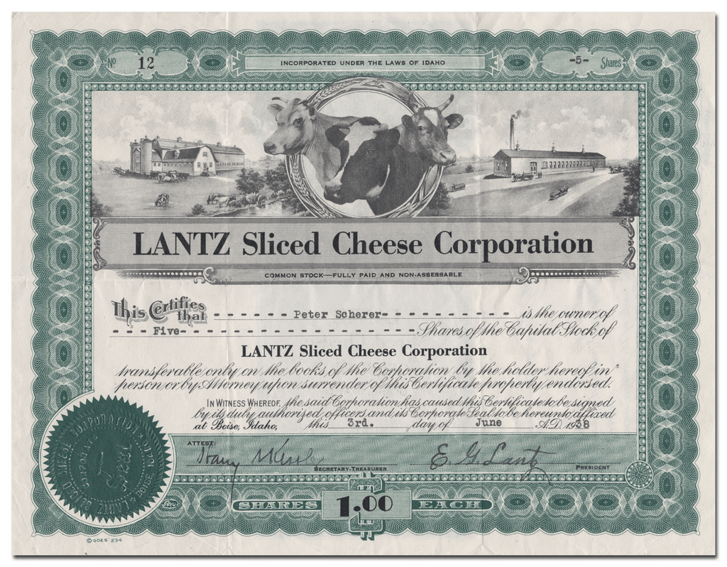LANTZ Sliced Cheese Corporation Stock Certificate