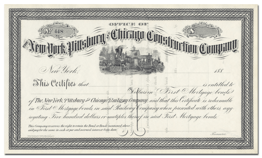 New York, Pittsburg and Chicago Construction Company Stock Certificate