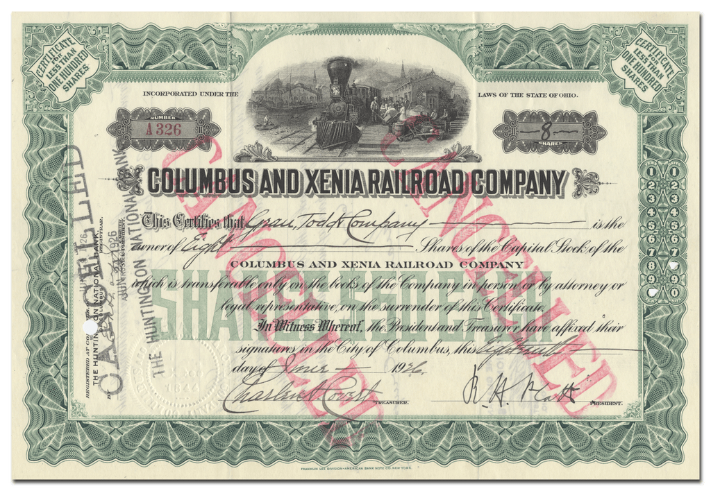 Columbus and Xenia Railroad Company Stock Certificate
