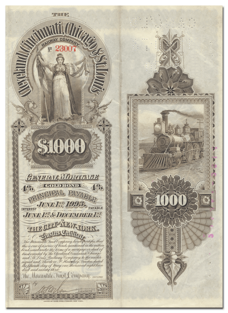 Cleveland, Cincinnati, Chicago & St. Louis Railway Company Bond Certificate (Back)